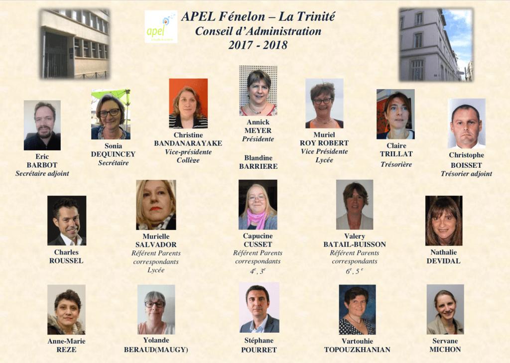 Organiramme de l'Ensemble scolaire Fénelon - La Trinité (2017-2018)