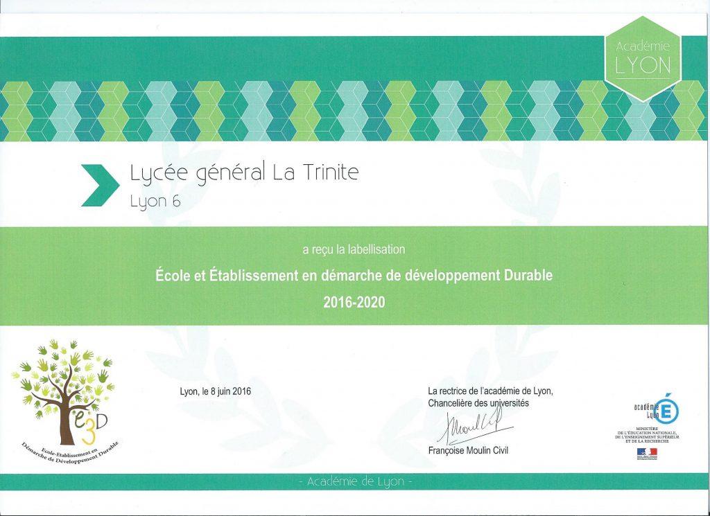 Le label E3D !! (Établissement en démarche de développement durable)
