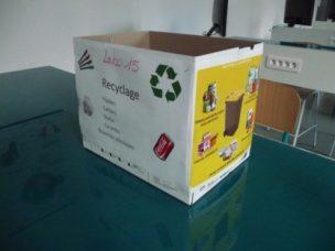 Les cartons poubelle jaune au lycée La Trinité : On recycle à grande échelle !